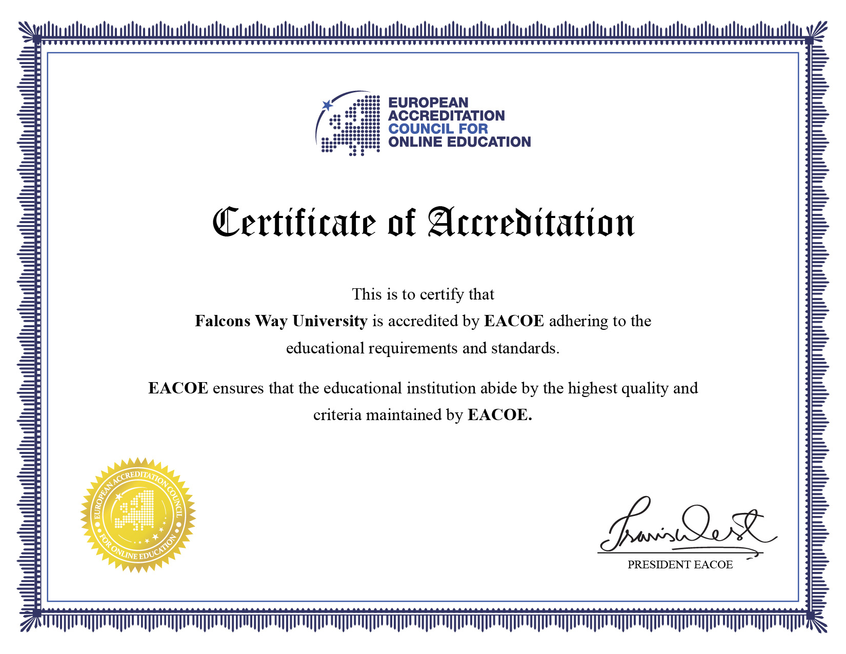 Falcons way university offering internationally accredited degree diploma and certificate programs with an assurance that our programs are recognized and accepted globally xflitez Image collections